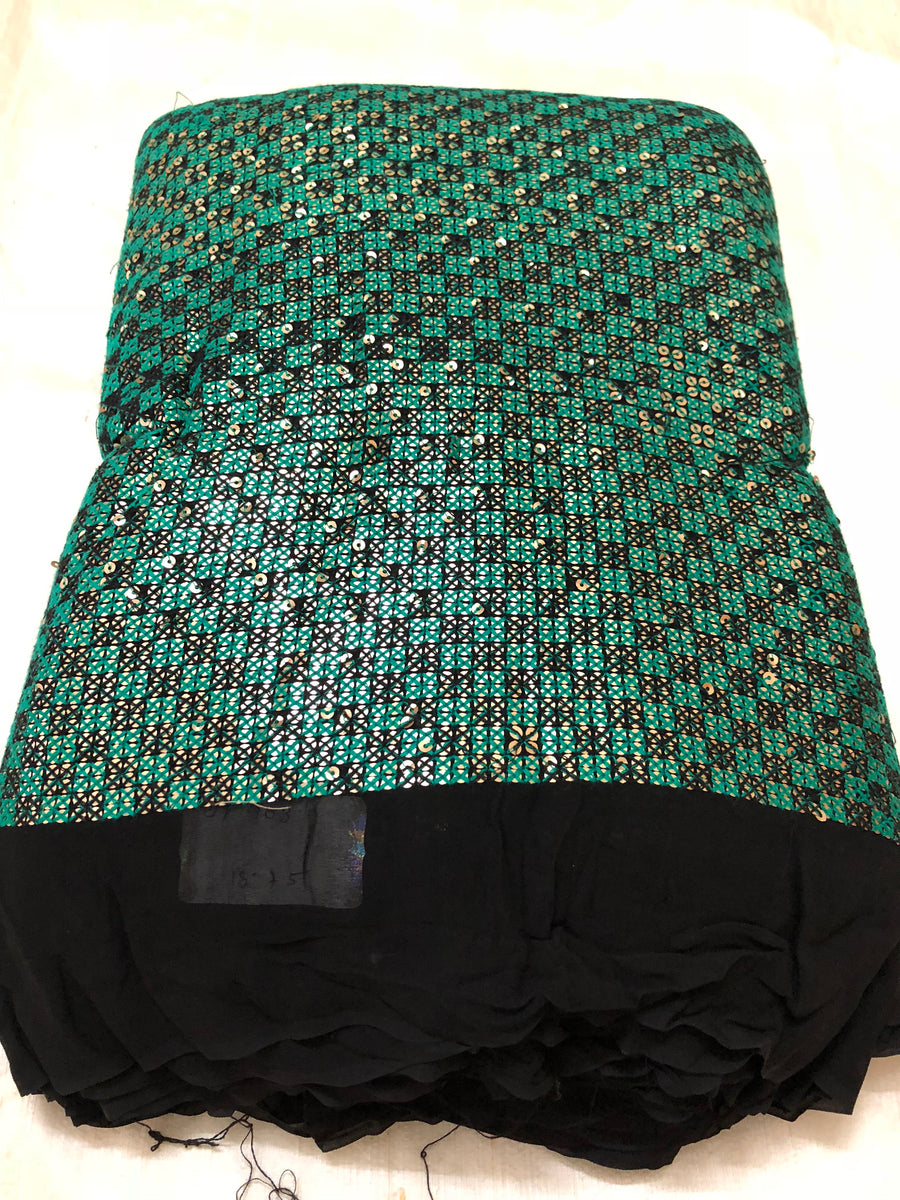 Sequins with thread embroidery on black georgette fabric