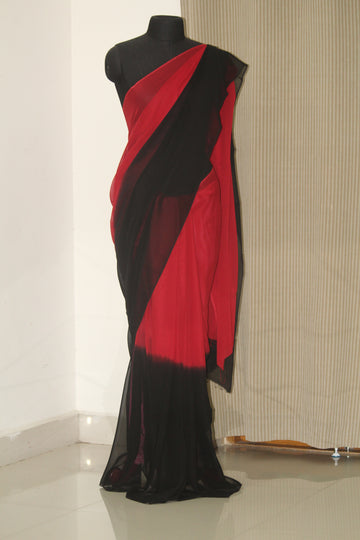 Shaded pure silk georgette saree