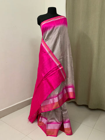 Dupion pure raw silk saree with zari border