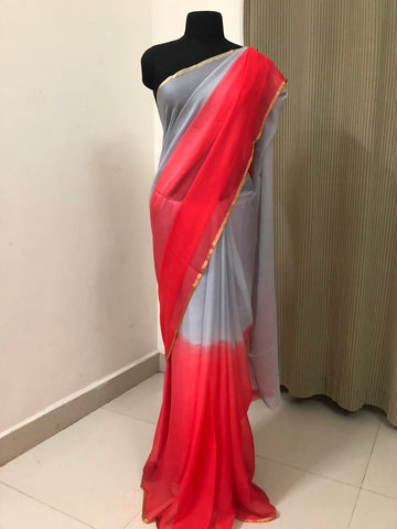 Multi shaded pure silk chiffon saree