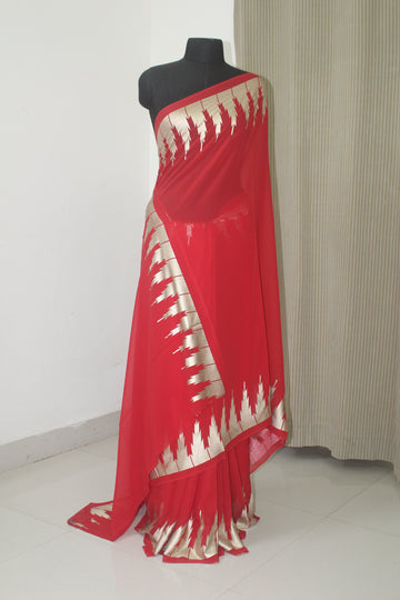 Pure georgette saree with border