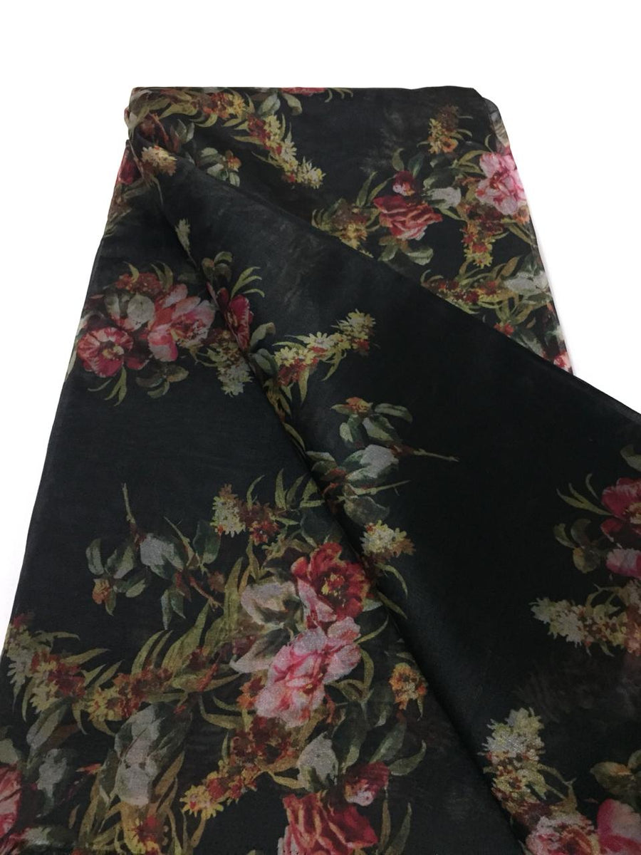 Digital floral Printed tissue organza fabric