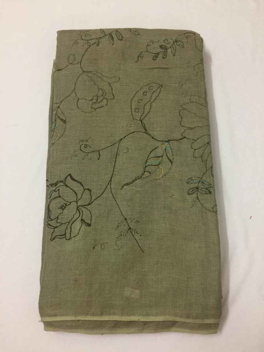 Embroidery on pure linen kurta fabric