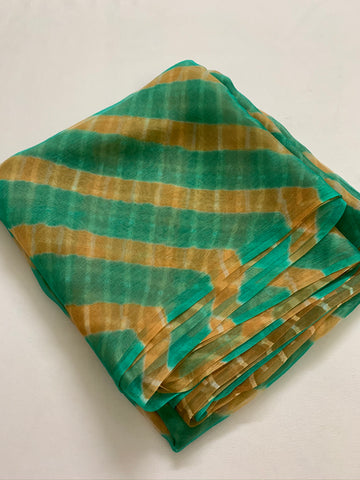 PURE SILK ORGANZA LEHERIYA SAREE