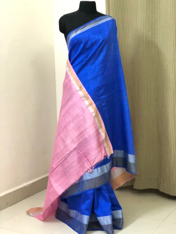 Pure raw silk saree with gold and silver zari border