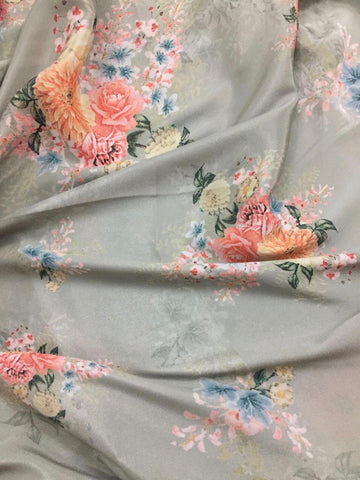 Digital floral printed crepe fabric