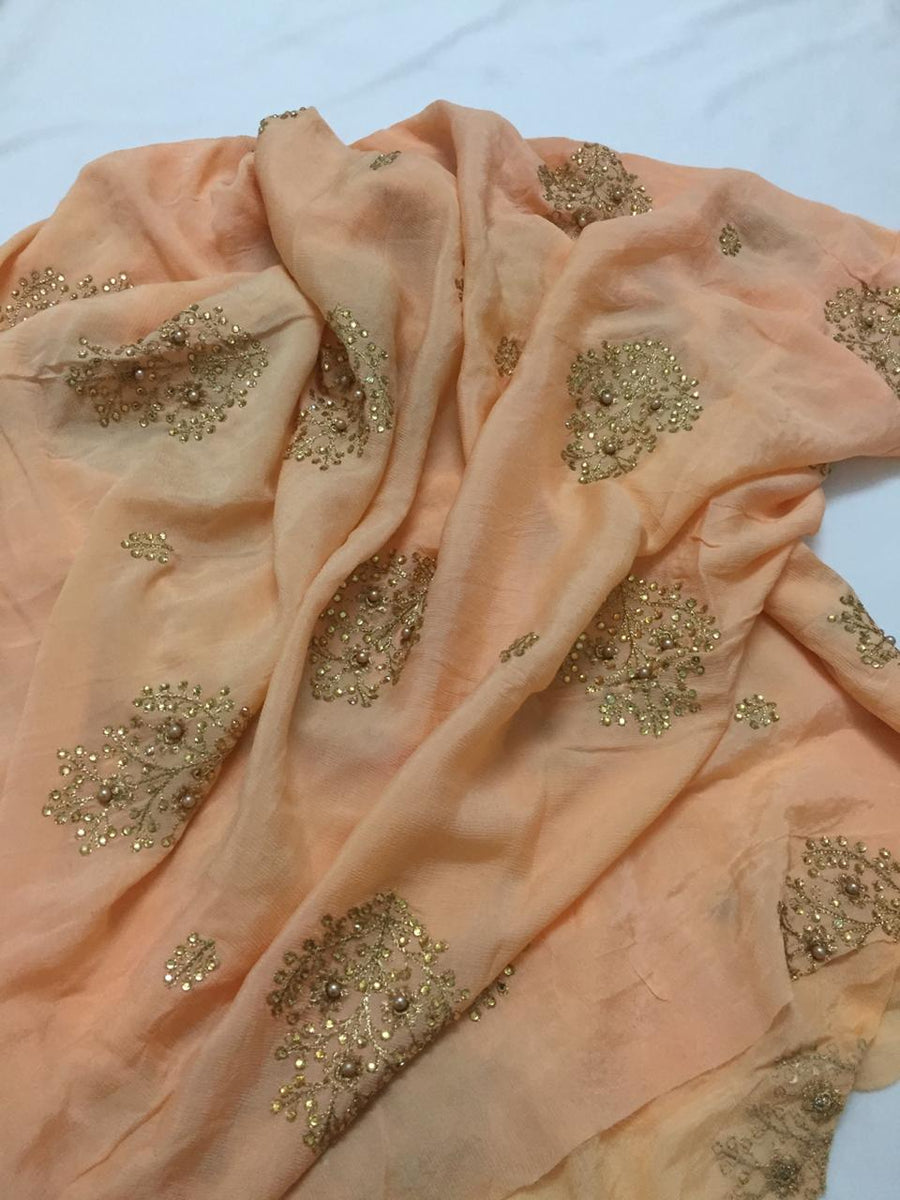 Embroidery on chinon dupatta fabric