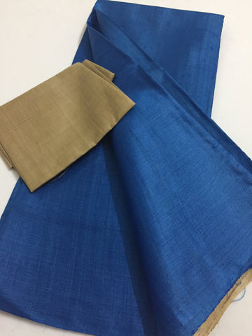 Handloom pure tussar silk saree with contrast blouse