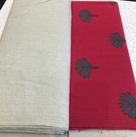 Block printed khadi with plain khadi