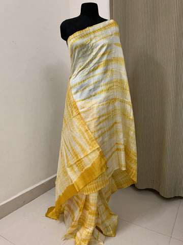 Pure dupion raw silk shibori tie and dye saree