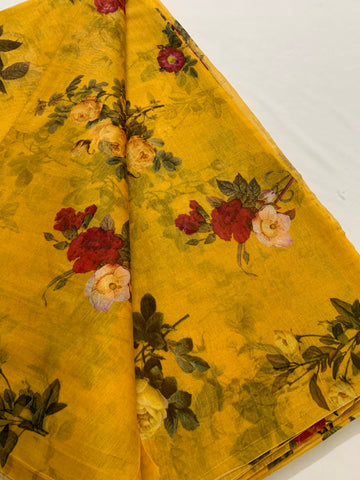 Floral Printed Pure silk cotton fabric