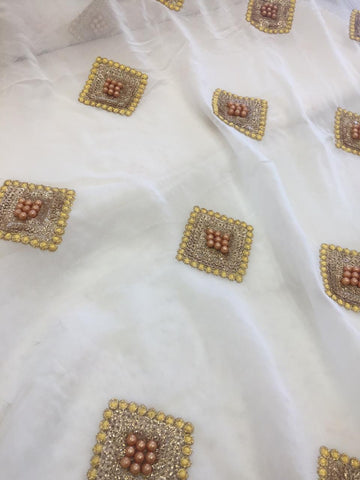 Embroidery on dyeable georgette fabric