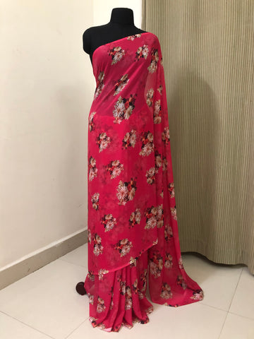 Digital floral printed georgette saree
