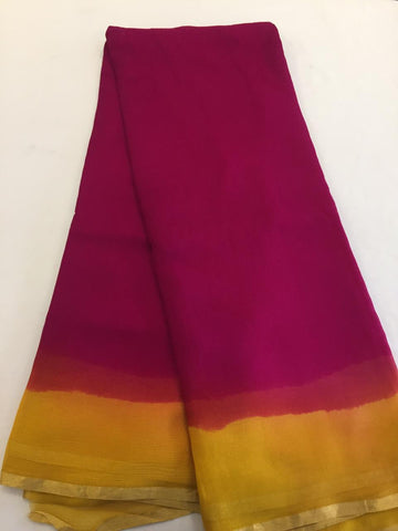 Double shaded pure silk chiffon saree
