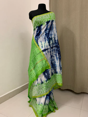 Silk Cotton shibori saree with blouse