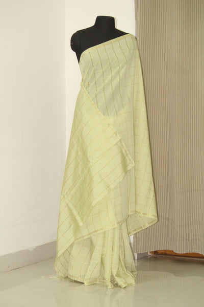 Silk cotton zari checks saree