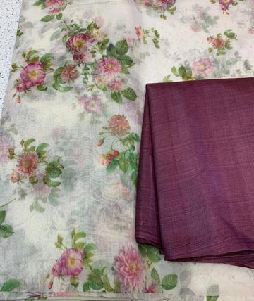 Printed pure silk cotton saree with pure Tussar silk blouse