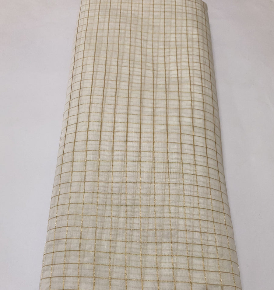 Dyeable Silk  cotton with zari checks fabric