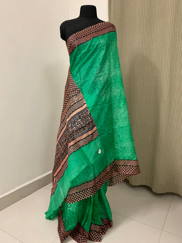 Pure tussar silk printed saree