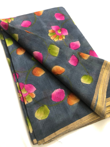 Hand Painted handloom pure munga silk fabric