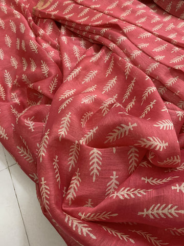 HANDLOOM PRINTED PURE LINEN SILK KURTA FABRIC