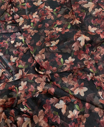 Digital floral Printed organza fabric