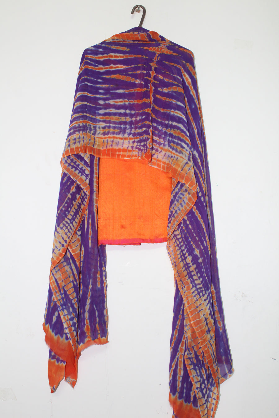 Pure dupion raw silk top with shibori dyed georgette dupatta