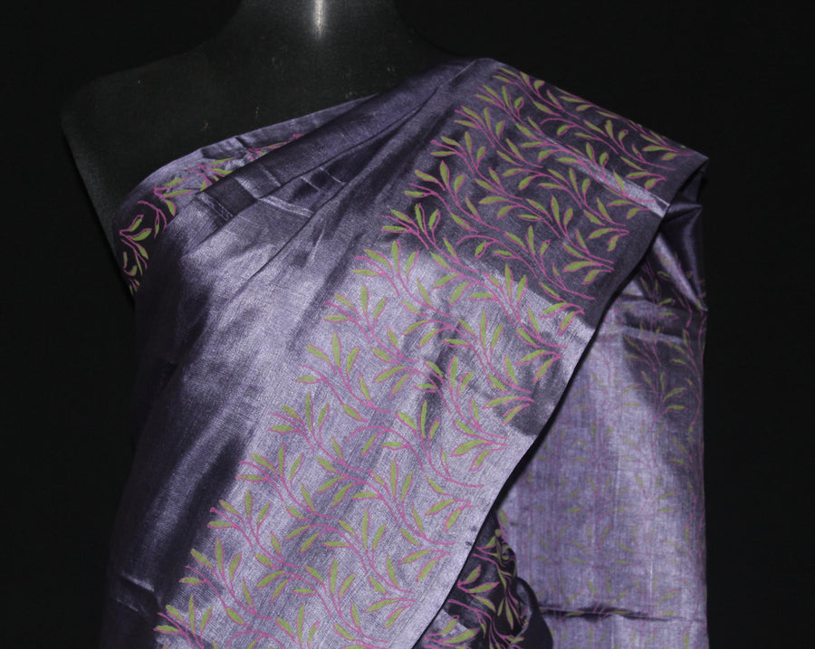 BLOCK PRINTED PURE TUSSAR SILK SAREE