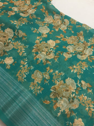 Printed Linen fabric with zari border