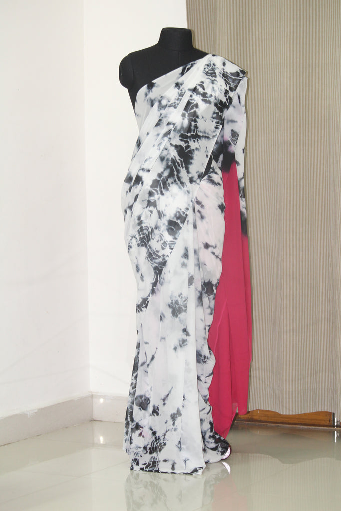 Shibori tie and dye georgette saree