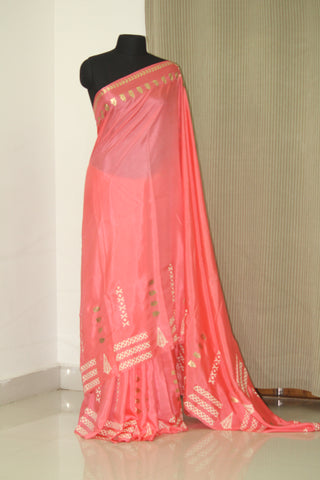Block printed pure silk saree