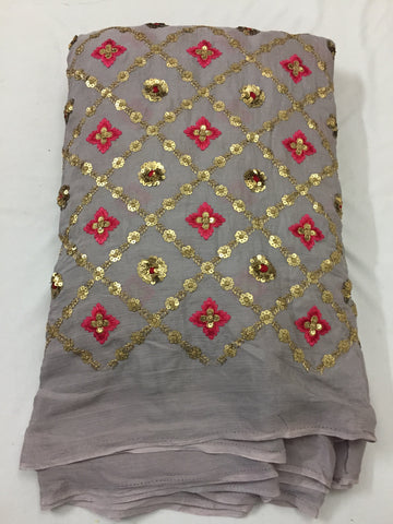 Embroidery on chinon kurta fabric