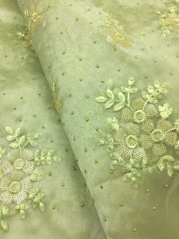 Embroidery on organza kurta fabric