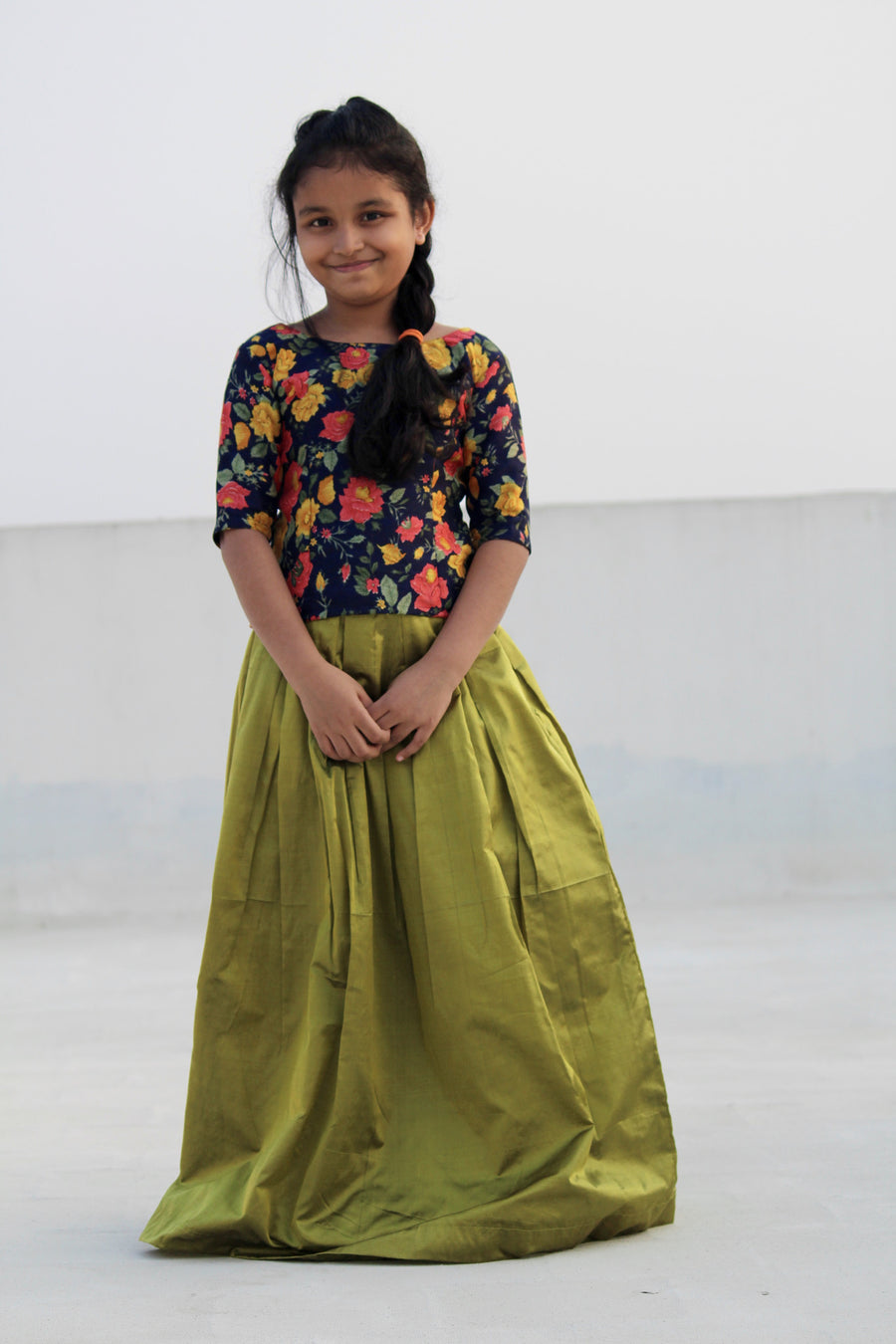 Bhagalpuri silk printed top with pure silk skirt