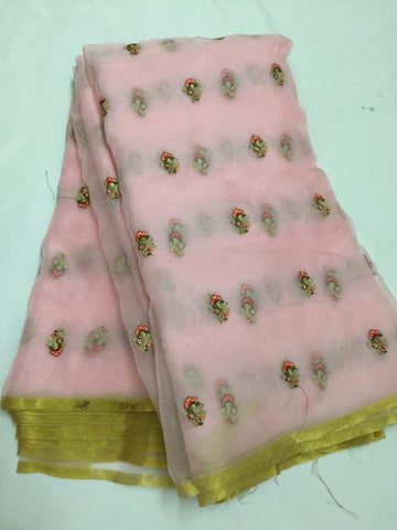 Embroidery on organza with zari border saree