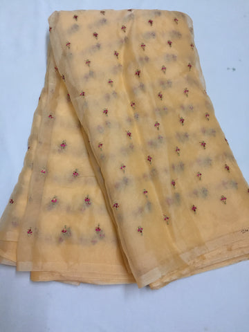 Embroidery on organza saree