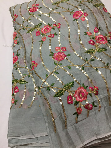 Embroidery on chinon fabric
