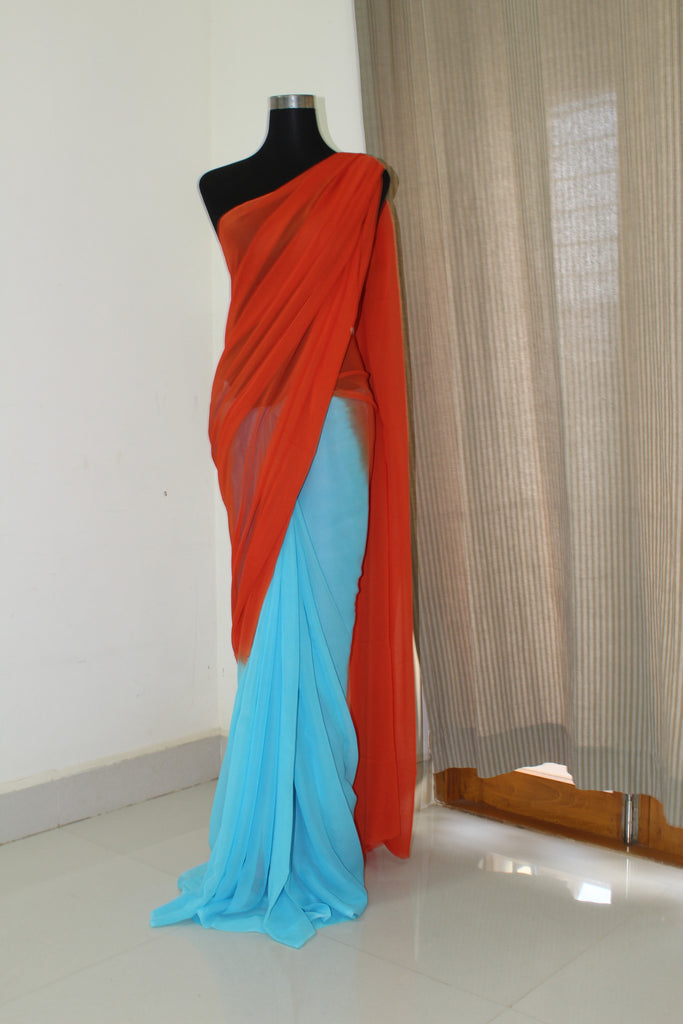 Georgette half and half saree