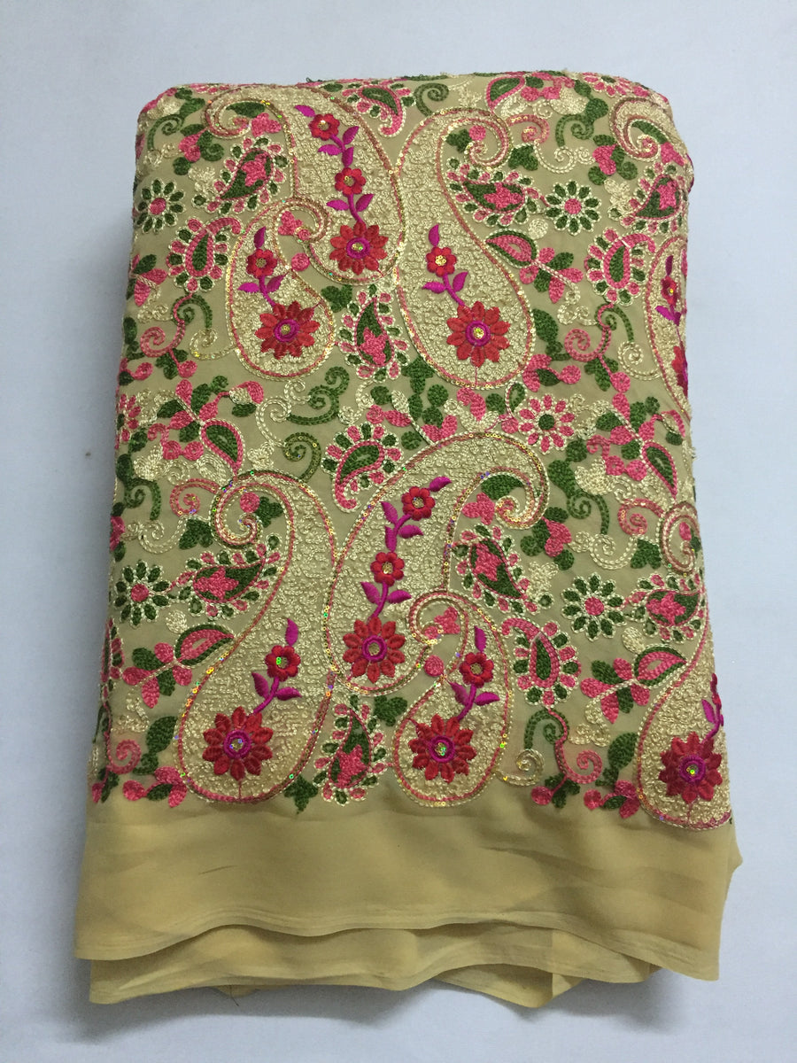 Embroidery on georgette kurta fabric