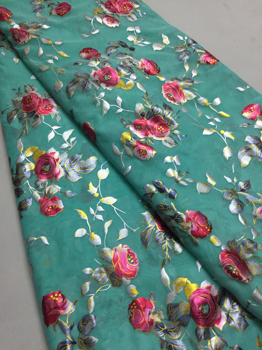 Printed lycra imported net fabric