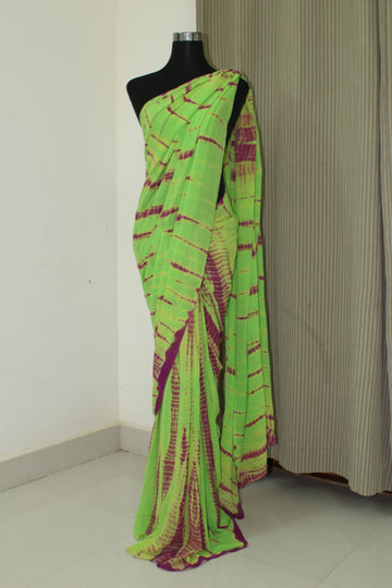 Tie and dye pure silk georgette saree
