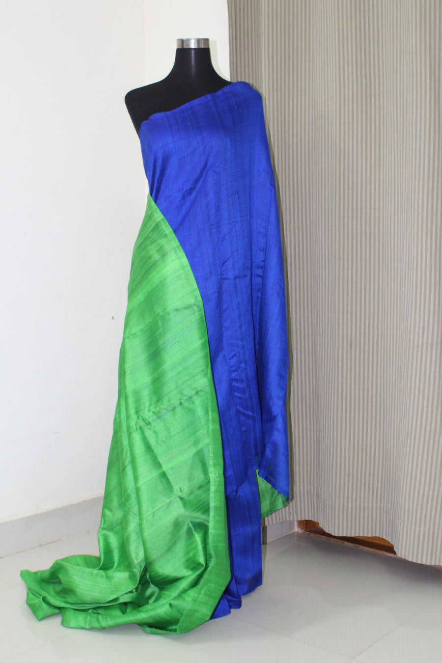 Pure raw silk saree with contrast blouse