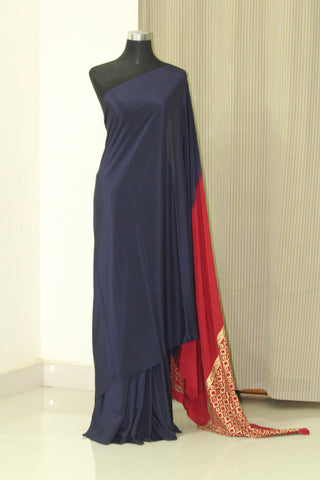 Pure silk crepe saree with gold block print