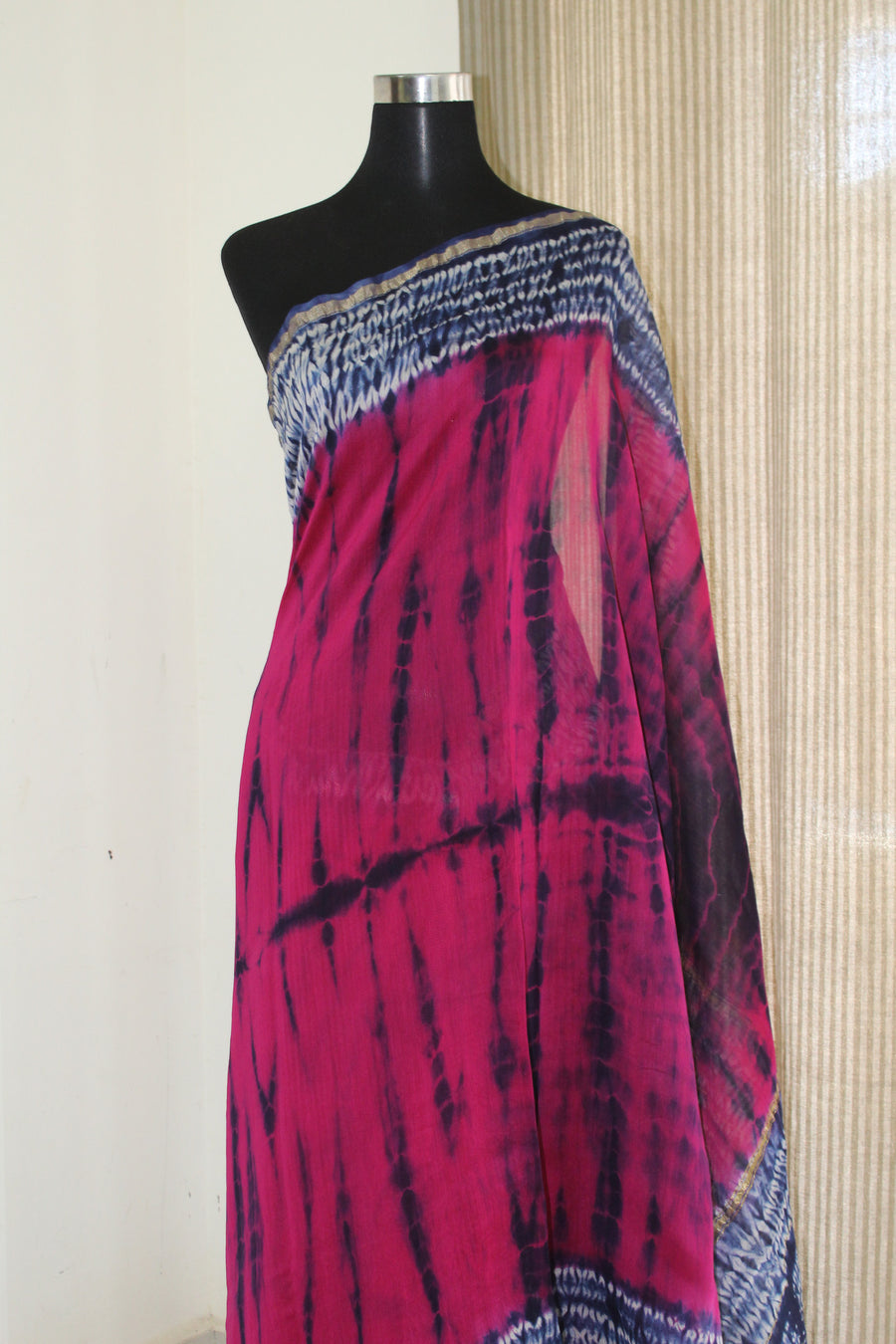 SHIBORI DYED HANDICRAFTED CHANDERI SAREE WITH BLOUSE