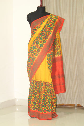 Dupion pure raw silk saree with block print