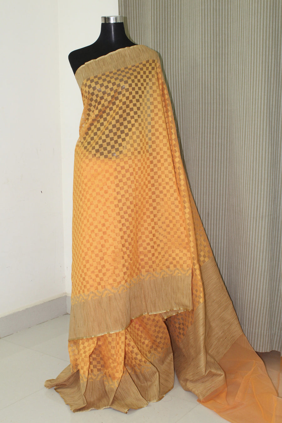 Self woven handloom net saree with blouse