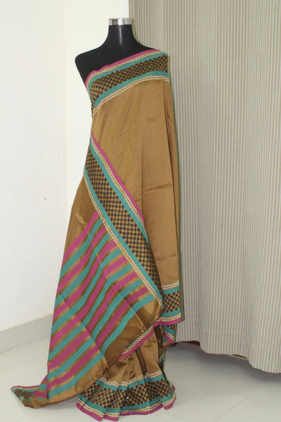 Block printed Chanderi saree