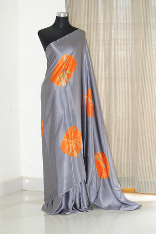 Tie and dye pure silk satin saree