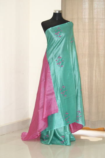 Pure Tussar  silk saree with block print