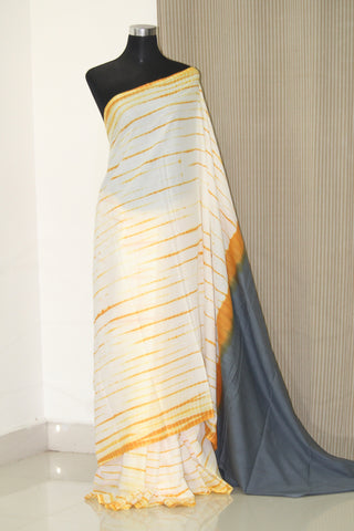 Tie and dye mul cotton saree